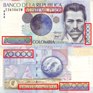 This Colombian bill uses 6 stamps to identify its value.